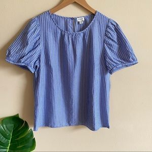 J. CREW Striped Puff Sleeve Top Blouse Blue NWT S
